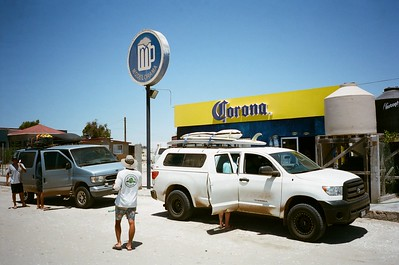 Tundra at her favorite pit stop, The Modelorama in Abre Ojos, Southern Baja.
