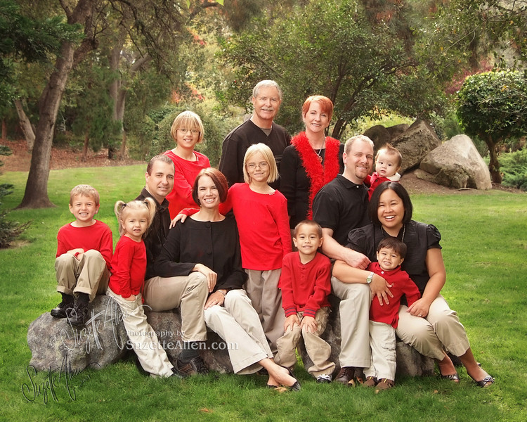 Red is pretty vivid, but mixing it with black and having equal balance of colors/placement works well! Grandma has the red scarf which highlights her as the queen bee of her beautiful family! Notice, all the kids are in red and the adults in black. Nice job.