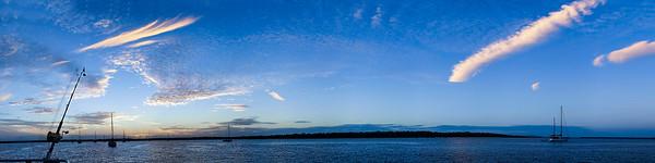 White Cirrus cloud in blue sky. Australia.