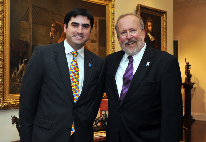 College of Music & Dramatic Arts Dean Laurence Kaptain (right) with Jacques Rodrigue, Executive Director of the George Rodrigue Foundation for the Arts (left).