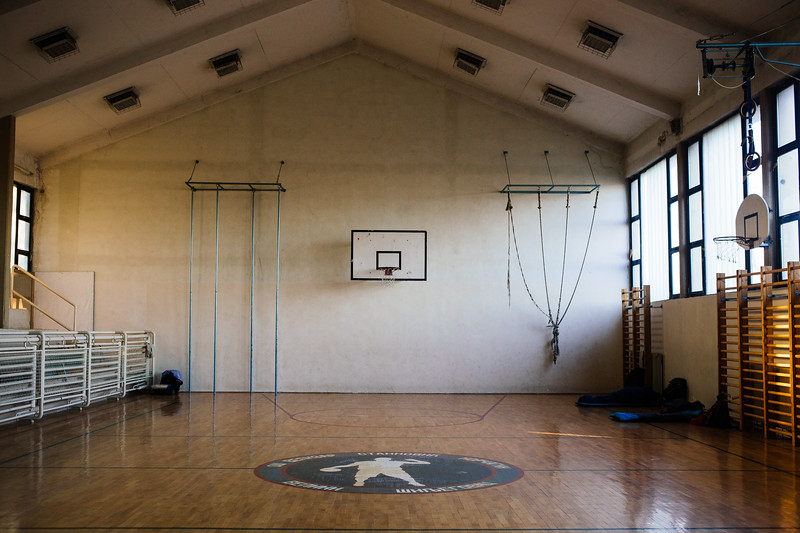 Accommodation spot in Veliki Silijegovac - a school gym.