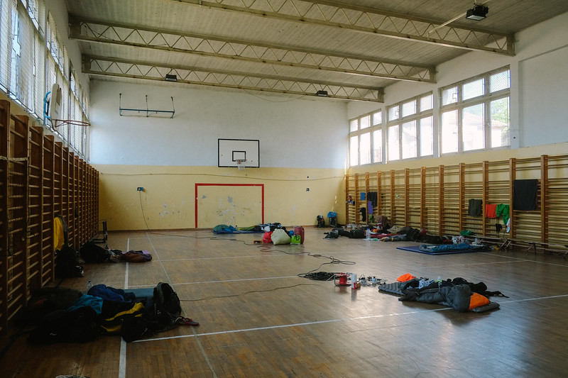 Accomodation in a gym.