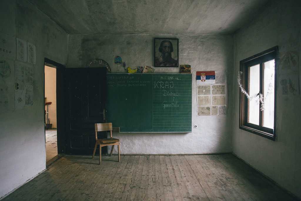 "A small school in Serbia, ""in the middle of nowhere"", near the border with Macedonia. Last year there was no pupils here but starting from September there will be one pupil."