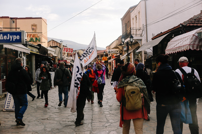 Many locals and journalists joned us to march through Skopje old market.