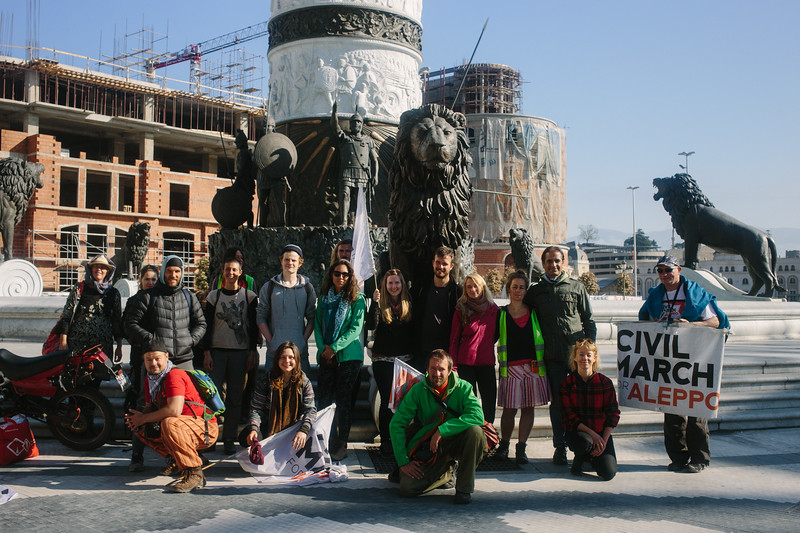 Posing to a group photo in Skopje.