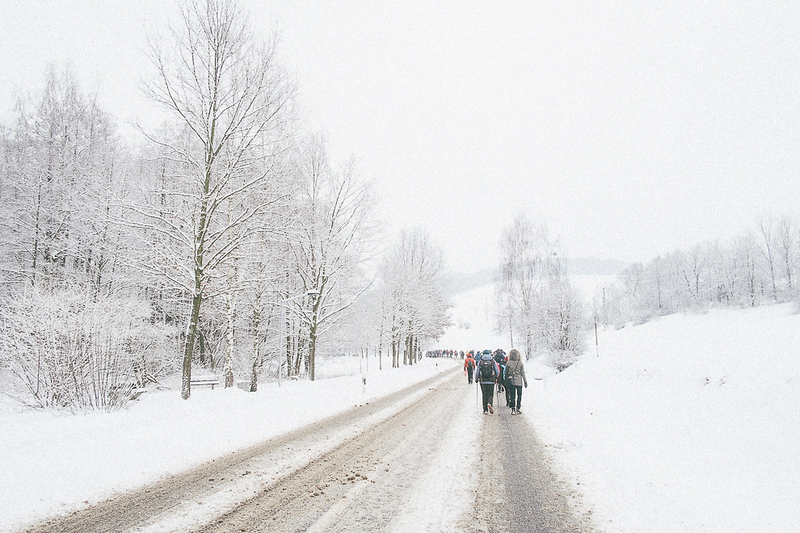A very white winter while the march passed through Germany and Czech Republic.