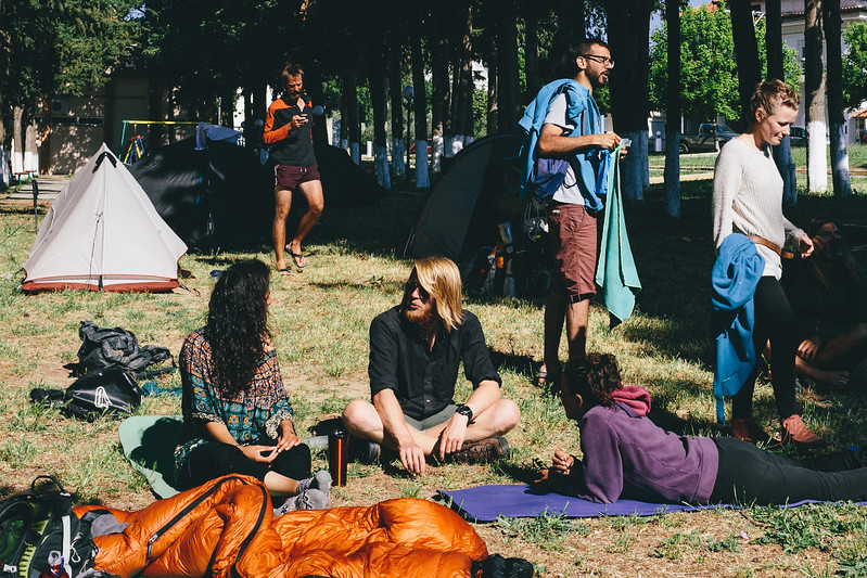 CMFA group in the accommodation spot, public park, Feres, Greece.
