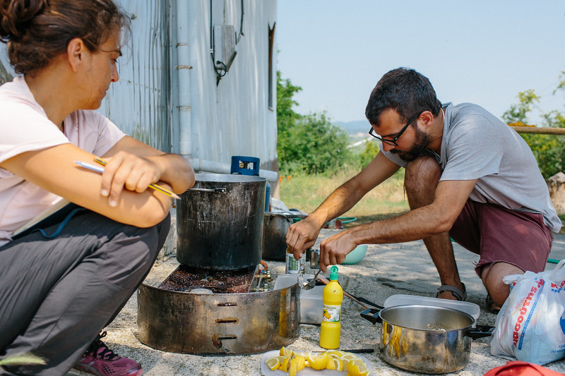 Malika (France) and Juan (Spain) cooking fishy thing. It was composed of rice, fishes and lemon and was exctepionally good.