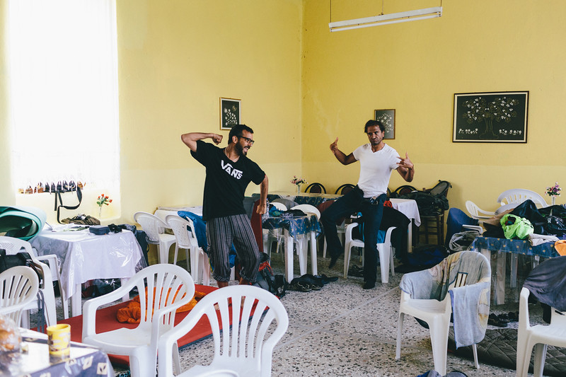 Juan and Jordi in the accomodation place (a building near the football field). Good humours were put into test some minutes later when the Greek police force hold us up.