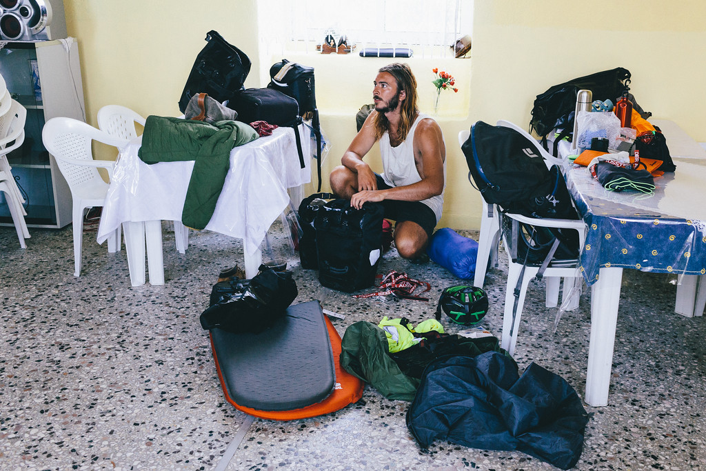 """Lucas (Argentina) packing his stuff, changing to the """"bikers mode"""". Would you believe how much things can you store on a single bicycle?"""