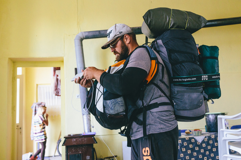 """Denis (Germany) decided to march with all his belongings. Usually CMFA marchers were walking only with small backpaks and the rest of stuff was moved in the trailer of our VW """"Habibi"""". Marching 25+ km a day with 18kg backpack, daily, for 230 days, would be much more demanding for our bodies and souls."""