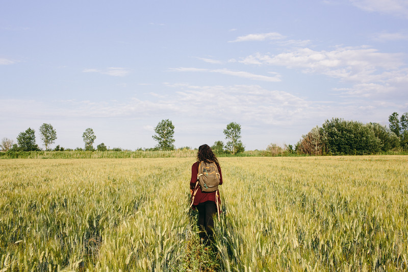 Ismahan (France) marching through a wheat field.