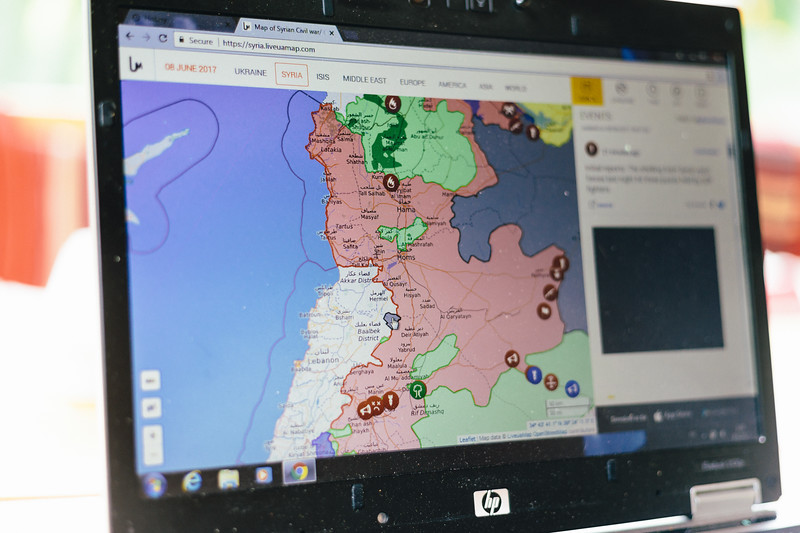 Analyzing possibilities to reach Syrian border from Lebanon.