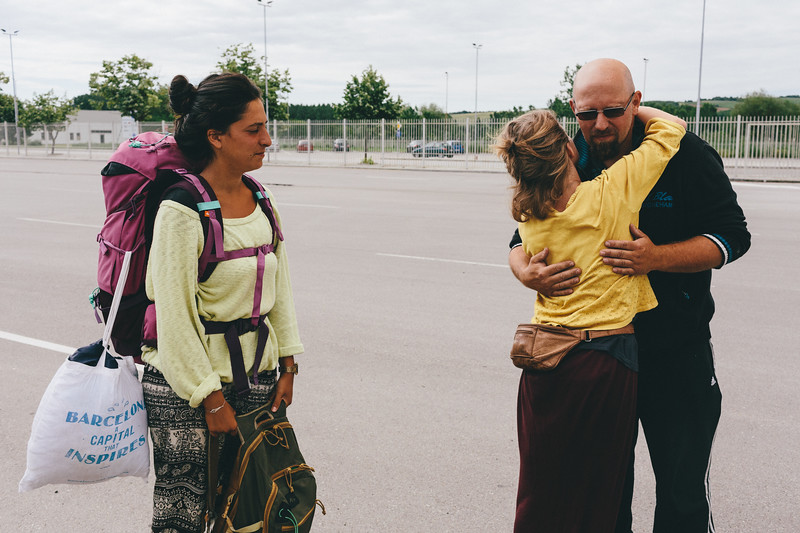 Ismahan, Lisa and Denis -  warm goodbye at the Turkish border.