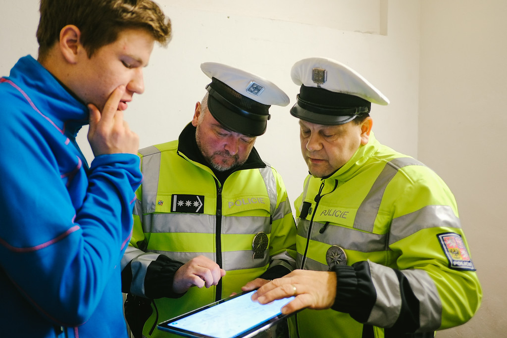 Martin (Czech Republic) was part of the CMFA national (Czech) team. He put a lot of effort and time to make our passage through his motherland possible. Here, consulting the route with local police.