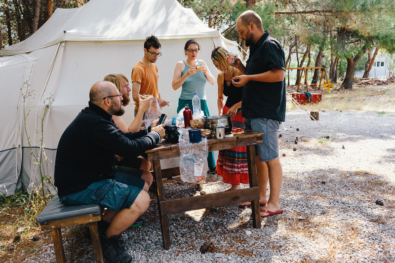 Breakfest at the Lesvos Solidarity - Pikpa camp.