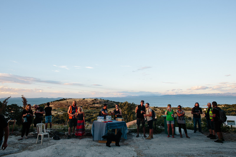 Break at One Happy Family - Community Center, Lesvos, with beautiful view and sunset.