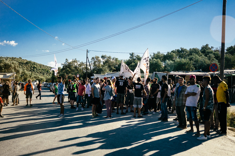 Crowd of people waiting for the march to start. Mitlini / Lesbos.