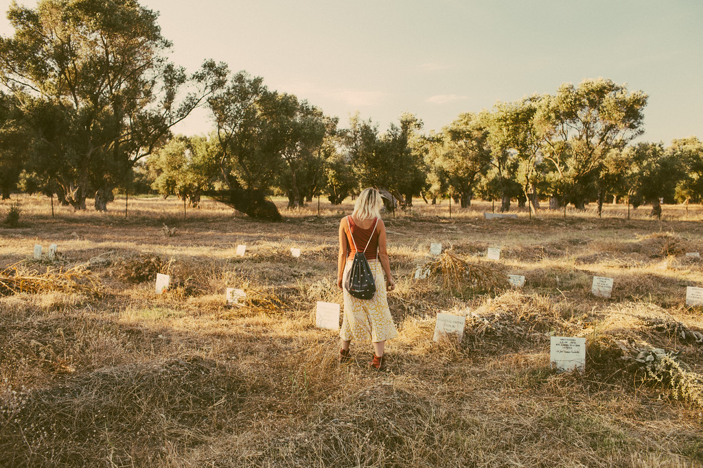 Anna reading the graves.