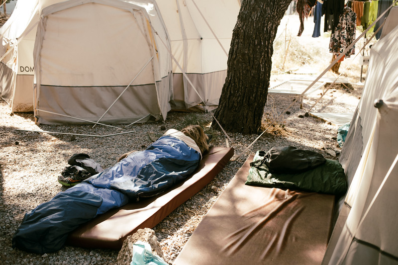 Lesvos accomodation - Alex resting in the PIKPA camp. In the midday the temperature was often higher than 40 Celsiuss.