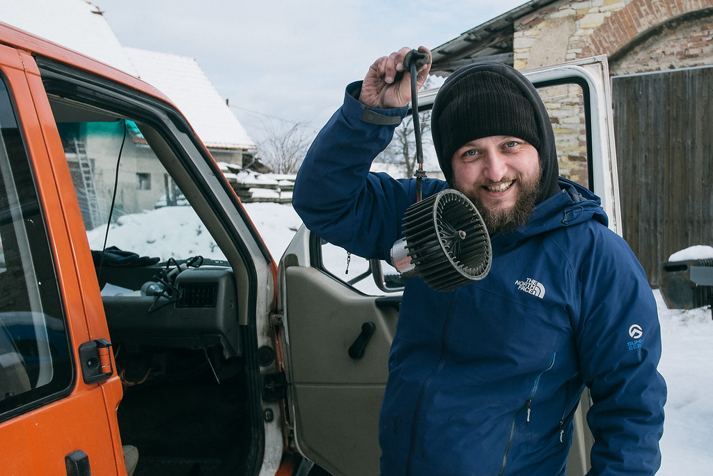 Marek (Poland) after hours of repairing Habibi in freezing cold.