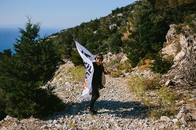 Marching on a steep, hot, rocky path, in the middle of nowhere.