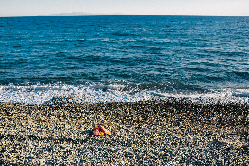Life vest thrown out by the sea on one of the beaches of Samos. UNHCR estiamation about drowned and missed in Mediterranean is 2,306. (07 Jul 2017).