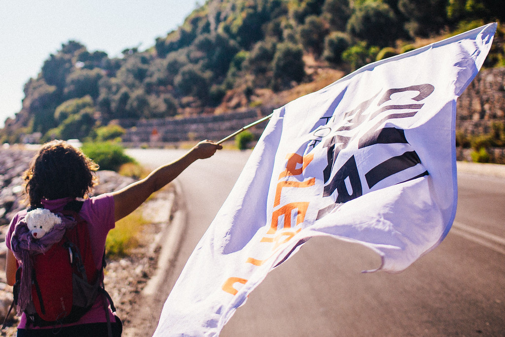 Malika (France) marching along the coast of Samos.