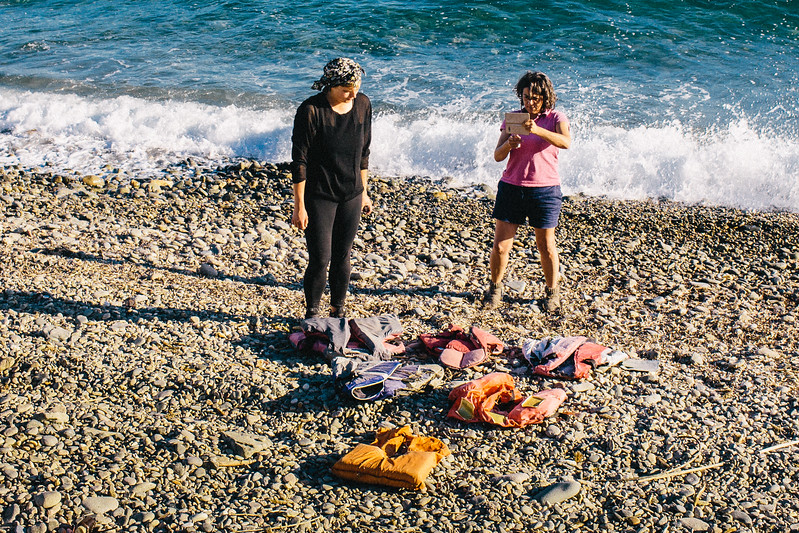 Wiktoria and Malika collecting life vest thrown by the sea near the accomodation place. Wika took the vests to send them to Mosaik Support Center.