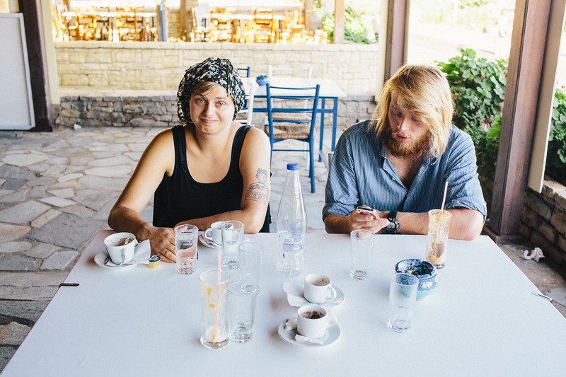 Wika (Poland) and Alex (Germany) enjoy morning coffee.