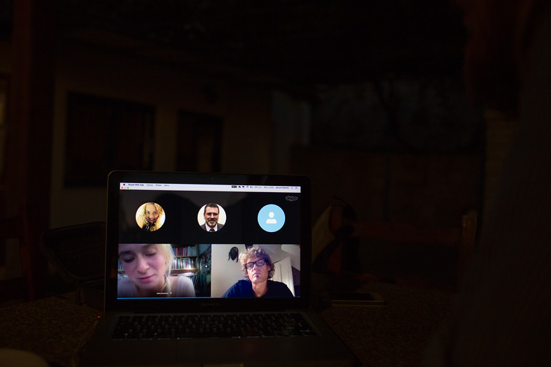 Remote voting - Olga (Poland), Stephan (Germany), Mark (Netherlands), Anna (Poland) during the skype meeting. The evolution of the decision taking process during the march was a complicated one. In Greece, an ultimate way of decision making was put into life, practically disabling marching group in the process.