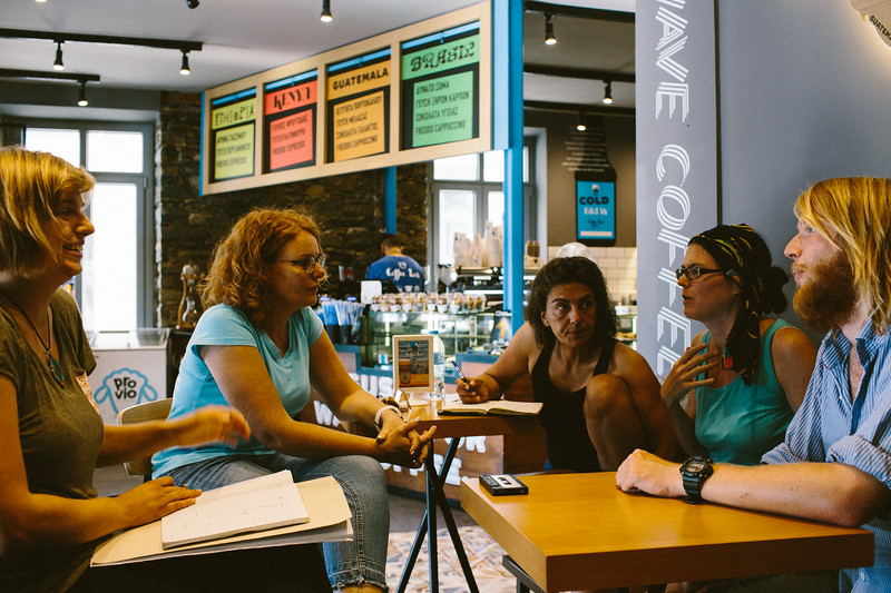 Meeting with the owner of Coffee Lab Samos who told us the stories from 2015 refugee crisis and current situation on the island.