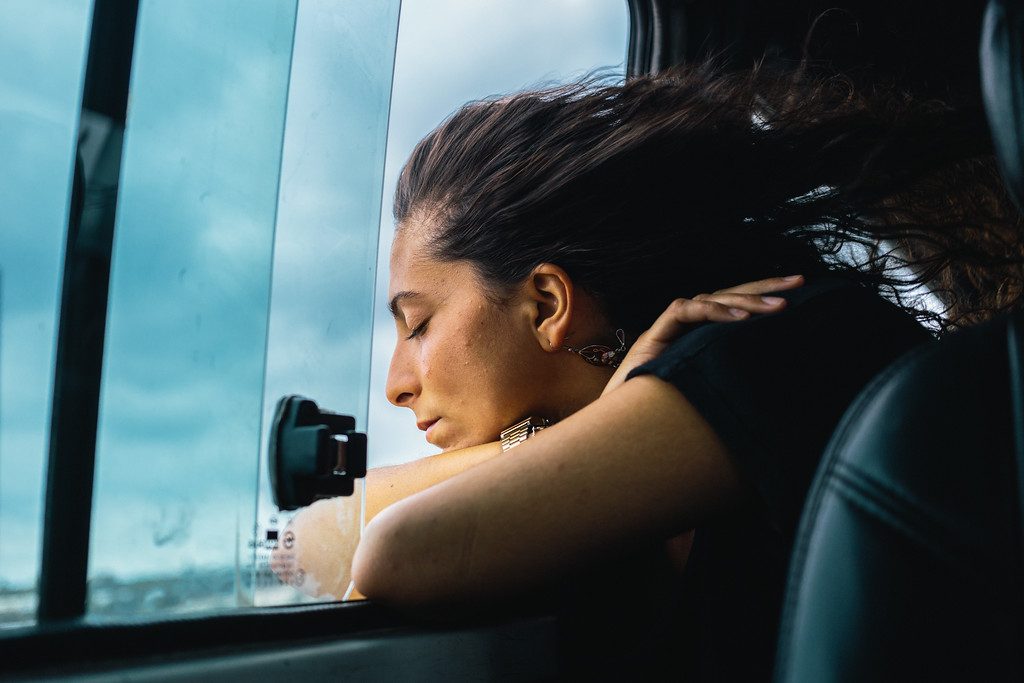 Ismahan (France) enjoys colder air, than inside of the full van. Average temperature for August in Lebanon is 28 Celsius degrees, with 28 Celsius in water.