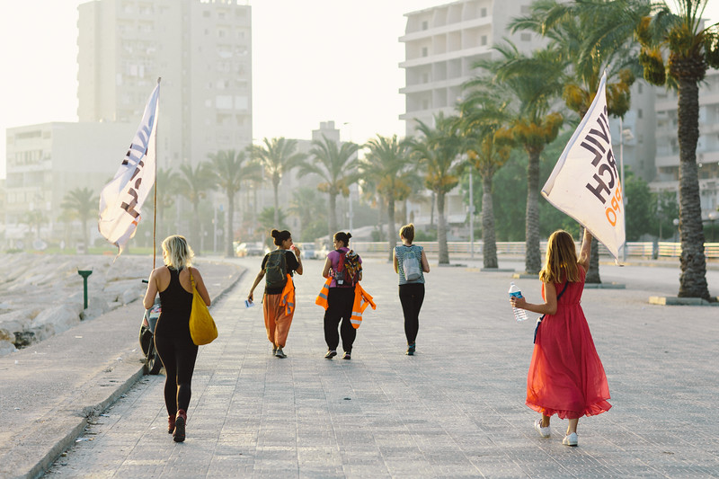 CMFA group marching along the Tyre corniche.