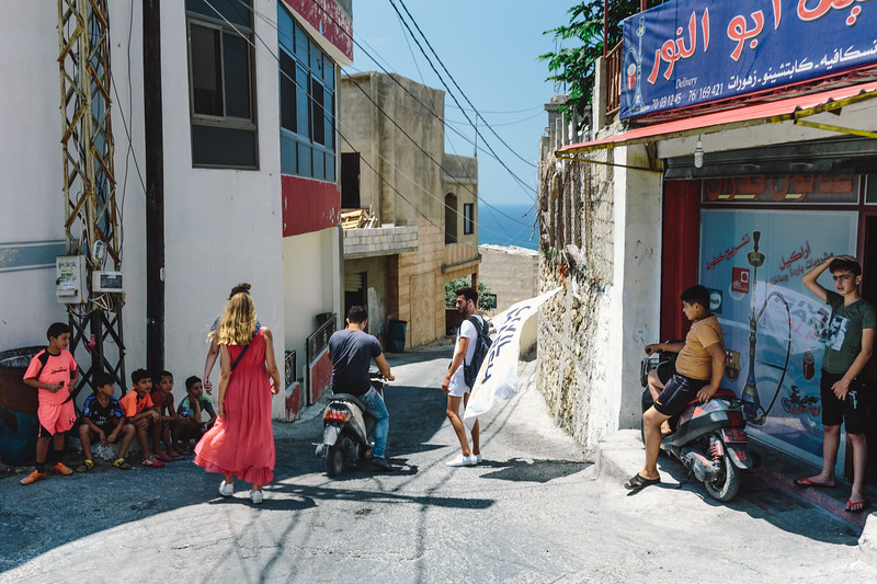 Walking down to the sea side. Planning the route through Lebanon we decided to keep as close as the seaside as possible. But this time we went up to the village. It turned out that our presence is a surprise.