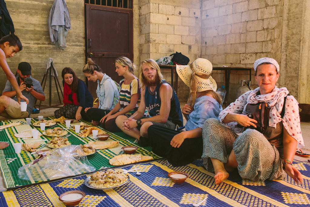 Civil March for Aleppo team was invited to a traditional Syrian dinner that took place in the mosque, in the Ouzai complex.