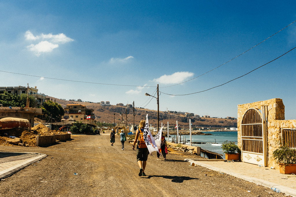 After 13km marching the group have reached the beach of Jiyeh.