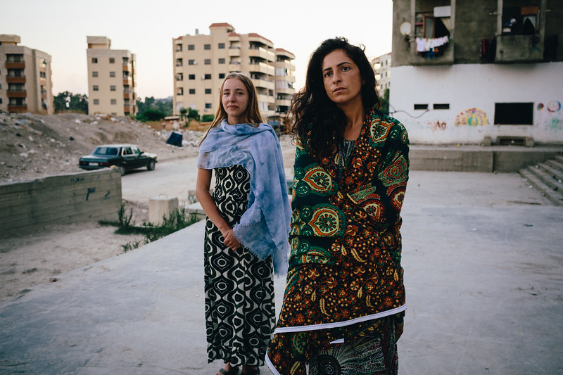 Feli and Ismahan, early morning, in front of the Ouzai complex.