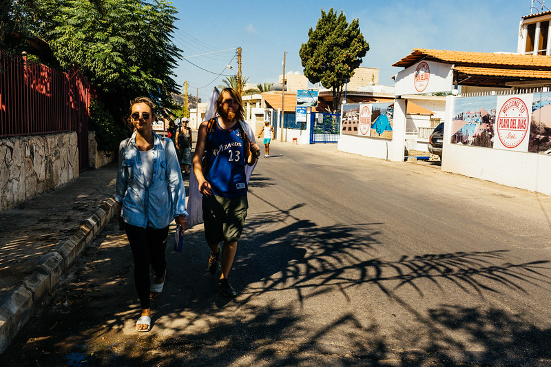 Anna (Poland) and Alex (Germany) walking near Jiyeh.