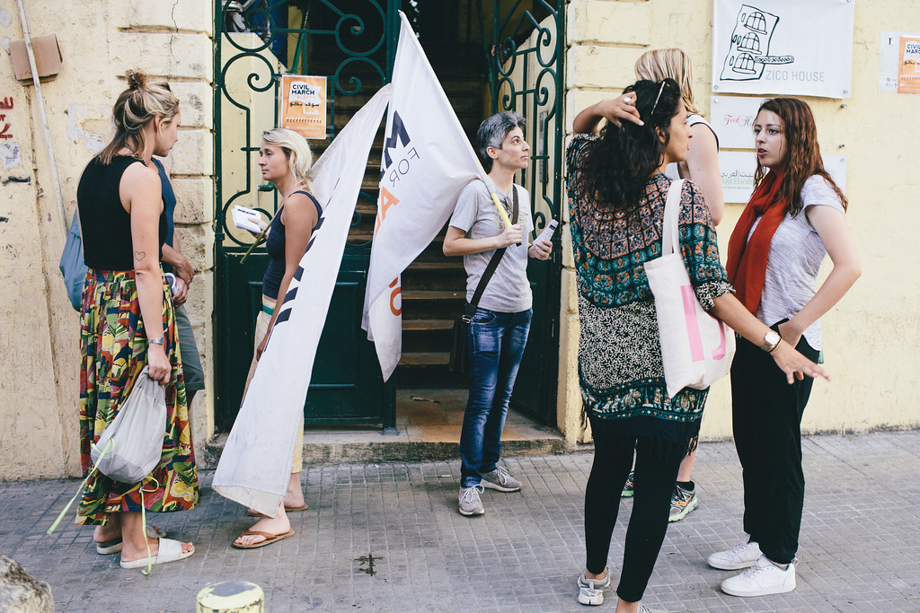 AnnaT (Poland), Anna, Ismahan, Alex and our new Lebanon female marcher in front of the Zico House, Spears street, Beirut, Lebanon.