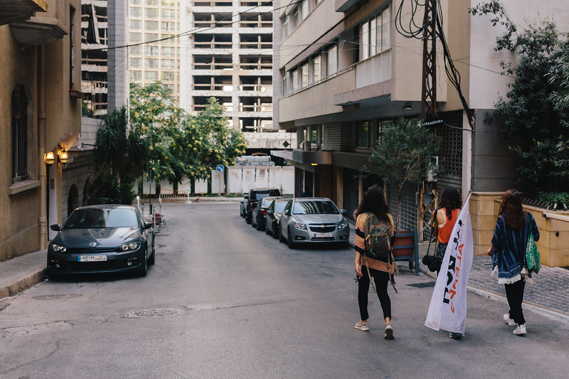 Ismahan (France), Hanadi (Lebanon), Jasmine (Switzerland) marching on the Sunday morning through empty streets of Beirut.