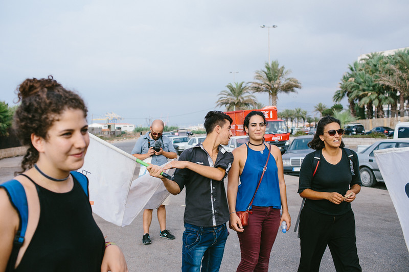 Joelie and Reine (both Lebanon), Ali (Syria),  Malika (France) marching along the Tripolis corniche.