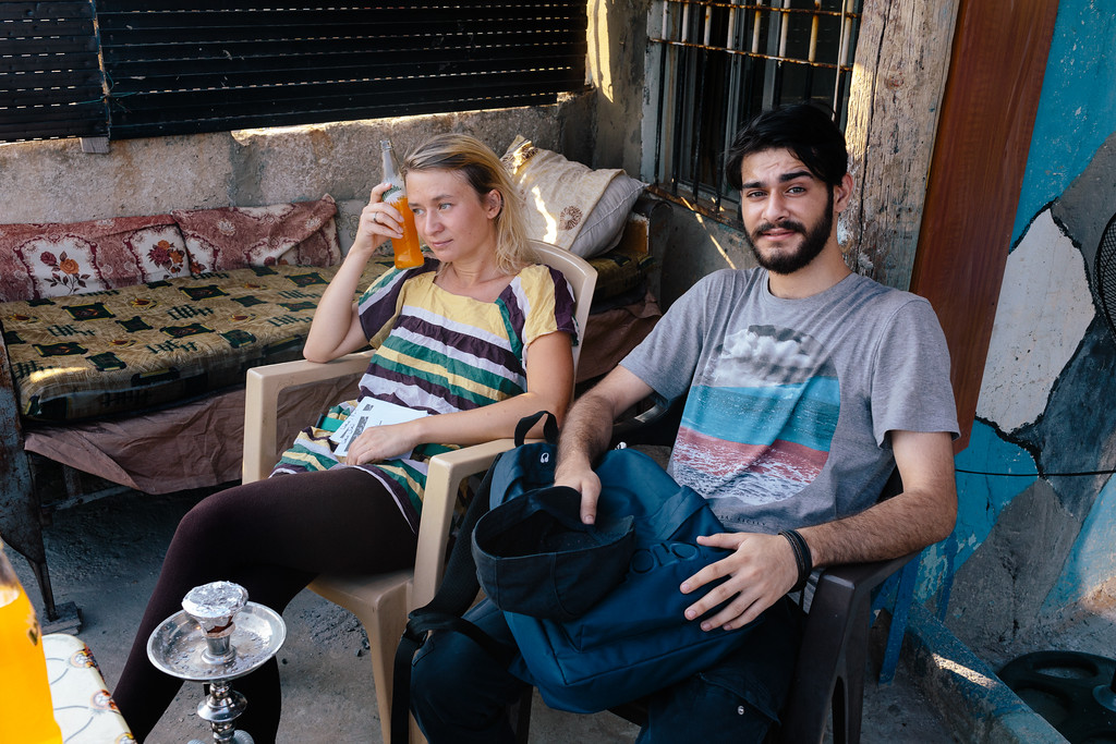 Anna and Rabee enjoy 15 minutes break. We were offred drinks and food, amazing Lebanese hospitality!
