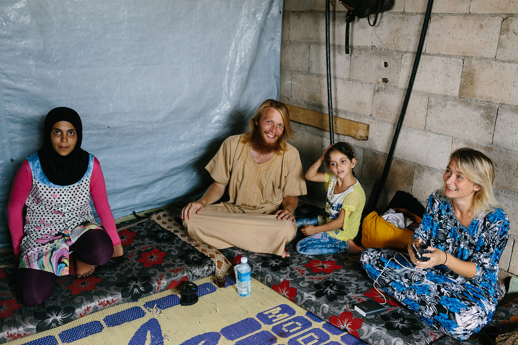 Alex and Anna inside one of the houses belonging to the Syrian refugees in the Tal Hmayreh camp.