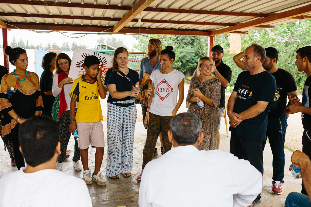 Anna (Poland) giving speech at the Malaak education center.