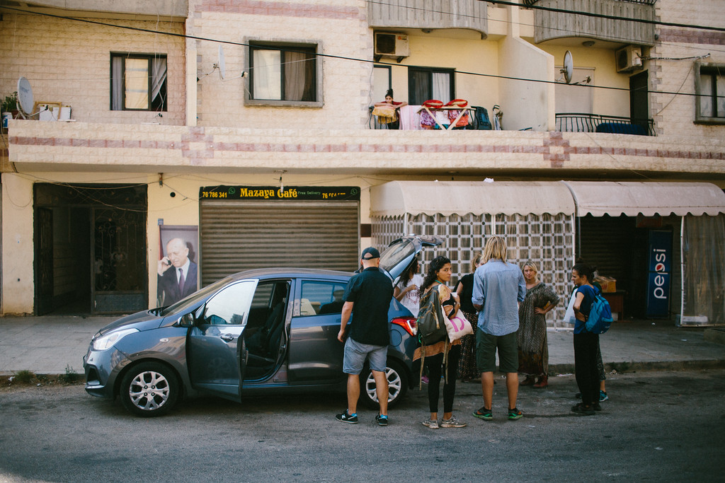 "The group leaving from Rabee's place in Tripolis, to Akkar, near the Syrian border. ""Habibi"" and ""Habibti"" cars were no longer with the march in Lebanon; instead we got a lot of logistics support from Anthony and Serene, as well later we used a small <br /> rented car."