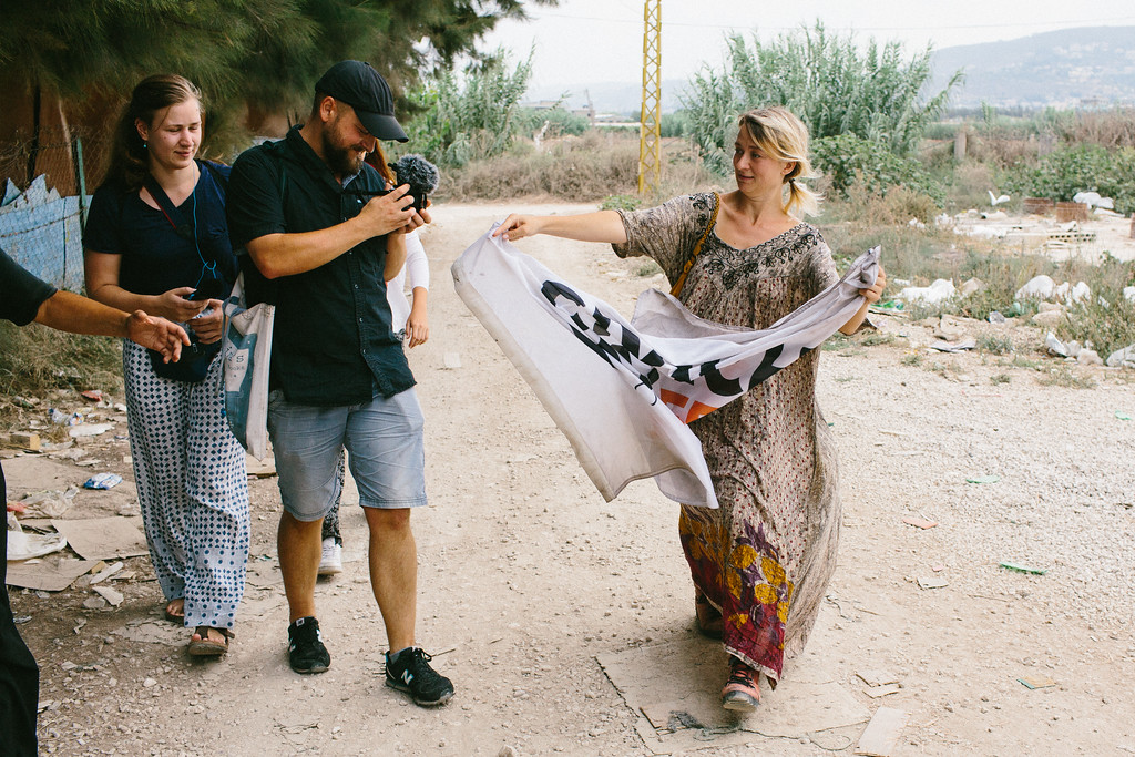 During most of the days Anna (Poland), the founder of the CMFA, was on the march, she was followed by the camera. Polish video journalist Marek taking a shoot on the way to the Malaak center, in Akkar, Lebanon.