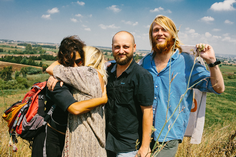 Sharing joy at the Syrian border. 8 months journey is over for Anna (Poland), Alex (Germany), Malika (France) and Marek (Poland).