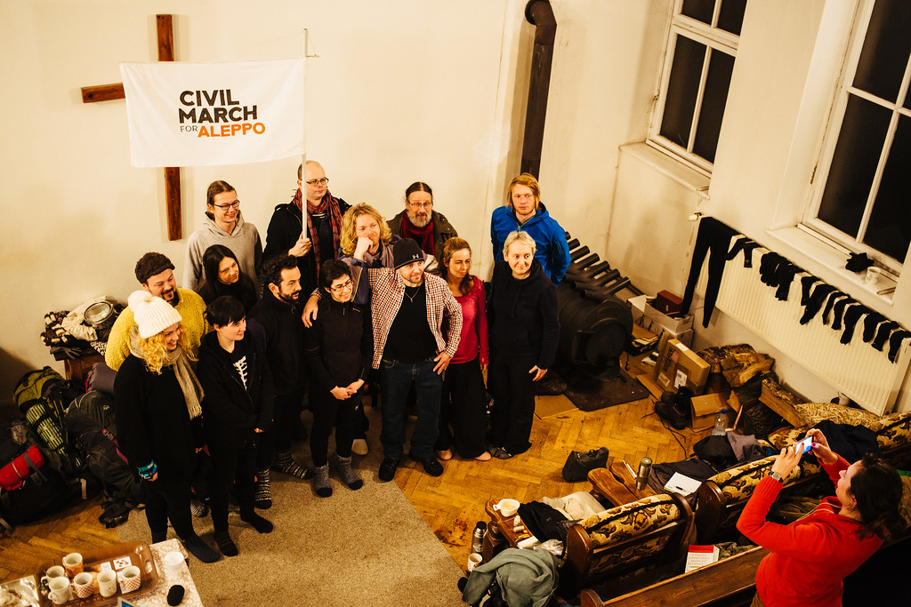 Group photo in the accommodation spot - a church in Zruc nad Sazavou.