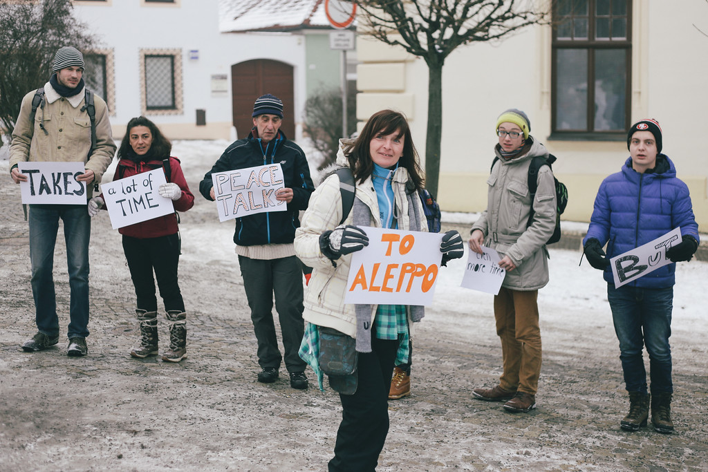 Idea of make a short movie promoting the CMFA was born on previous evening. Just before the morning circle marchers took their boards and were filmed (and photographed) to creat a live message. Tisnov, Czech Republic.
